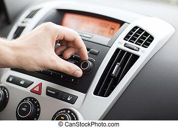 人, 使用, 汽车, 音频, 立体系统