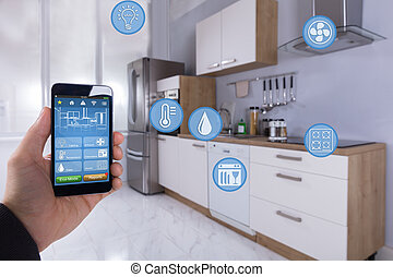 人 , 使用, 聪明, 家, 应用, 在上, smartphone