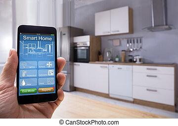 人 , 使用, 聪明, 家, 系统, 在上, mobilephone