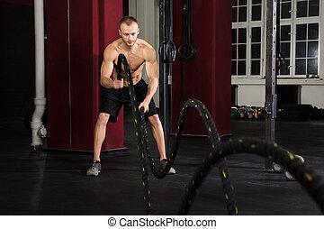 人, 使用, 訓練, 繩索, 在, a, 體操