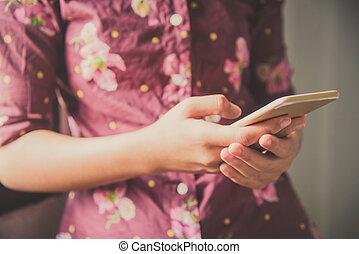 人, 使用, smartphone, 為, 數据, 連接, 以及, 搜尋, 到, 數据