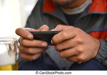 人, 使用, smartphone