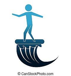 人, 侧面影象, 冲浪板, 图标, 隔离