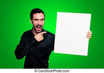 人, 保有物, ブランク, 白人の委員会, 上に, 緑, backgroud