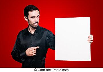 人, 保有物, ブランク, 白人の委員会, 上に, 赤, backgroud