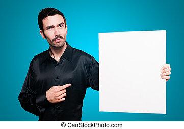 人, 保有物, ブランク, 白人の委員会, 上に, 青, backgroud