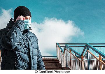 人, 保護である, 青, マスク, 都市, 医学
