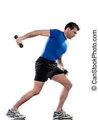 人, 做, 測驗, 刺, 三頭肌, 伸展, 在懷特上, 被隔离, 背景。, 開始, 站起來, straight., 握住, the, 重量, 前面, 你, 在, 腰, 高度, 所作, 保持, the, 肘, 屈曲, 以及, 到, 你, side., w