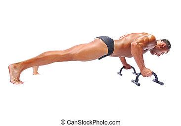 人, 做, push-ups.