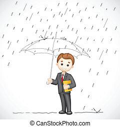 人, 傘, ビジネス, 下に