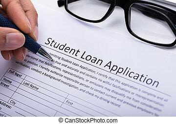 人, 充滿, 學生貸款, 申請表