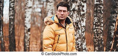 人, 公園, 冬ジャケット, 身に着けていること