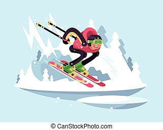 人, 冬, スキー