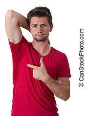 人, 出汗, 非常, 糟糕地, 在下面, armpit