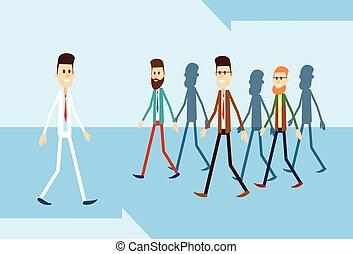人, 動きなさい, 立場, から, 群集, 個人, ビジネス 人々