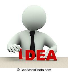 人, 単語, 考え, ビジネス, 3d