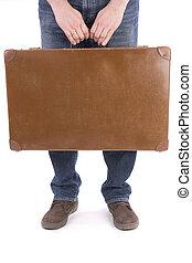人, 古い, スーツケース