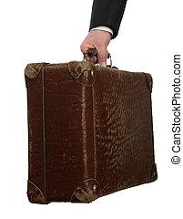 人, 古い, ビジネス, スーツケース