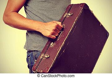 人, 古い, 若い, スーツケース