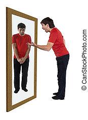 人, 叱ること, 彼自身, 中に, a, 鏡
