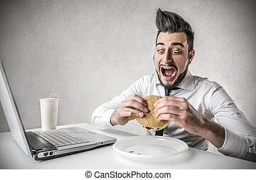 人, 吃, 漢堡包