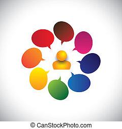 人 , 同时, 概念, 闲谈, &, 混乱, 创造性, 矢量, 人, ideas., 等等, 图表, 代表, 意见, 问题, 签署, 怀疑, 问题, 或者, 表明, 图标