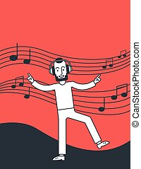 人, 听音樂, 以及, 跳舞。