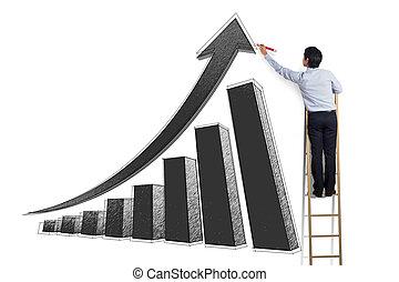人, 在上, 梯子, 图, 增长图表