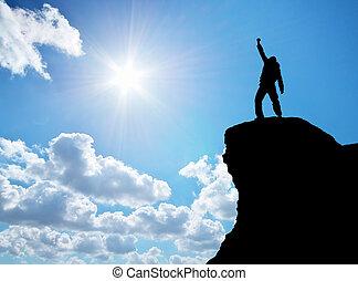 人, 在的顶端上, 山