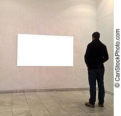 人, 在, 畫廊, 房間, 看, 空, 框架