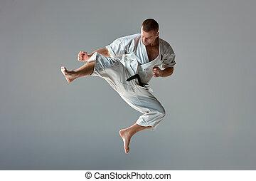 人, 在, 白色, 和服, 訓練, 空手道