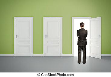 人, 在, 綠色, 房間