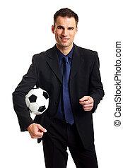 人, 在, 衣服, 握住, a, 足球