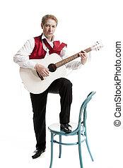 人, 在, 衣服, 演奏吉他
