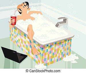 人, 在, a, 洗澡