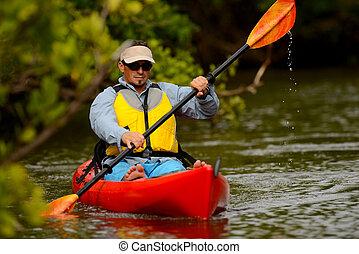 人, 在, kayak, 在, 佛羅里達
