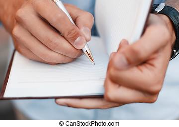 人, 執筆ノート, 中に, a, notebook., 手を持っているペン