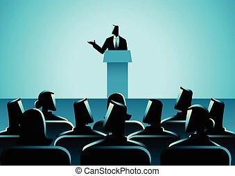 人, 寄付, a, スピーチ, ステージ上で