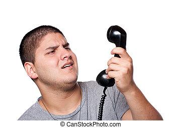 人, 尖聲叫, 進, the, 電話