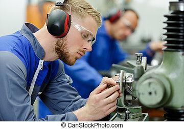 人, 工場, 耳, 若い, 保護