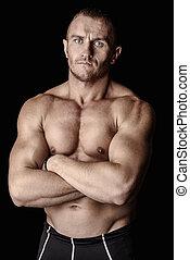 人, 带, 大的肌肉