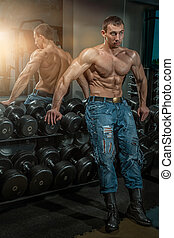 人, 带, 大, muscles.