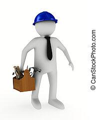 人, 带, 木制, toolbox., 隔离, 3d, 形象