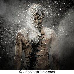 人, 带, 概念性, 精神上, 身体艺术