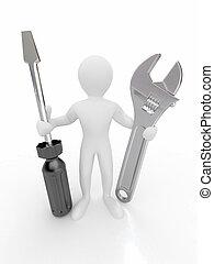 人, 带, wrench, 同时,, screwdriver., 3d