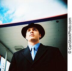 人, 帽子, 若い, 50 年代