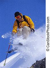 人, 年輕, 滑雪