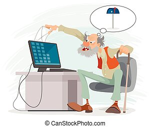 人, 年配, コンピュータ