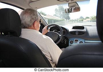 人, 年配, 運転, 自動車