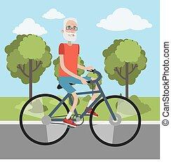 人, 年配, cycling.